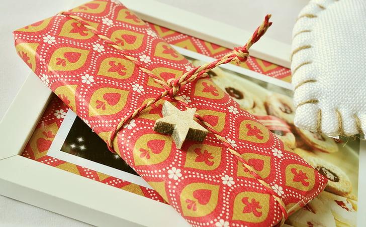 dárek, balení, šňůra, Vánoční dárek, zabaleno, Vánoční, balicí papír