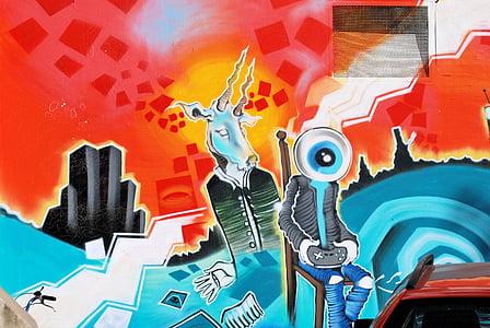 Graffity, hauswand, Malarstwo ścienne, kolorowe, Creative, sztuka