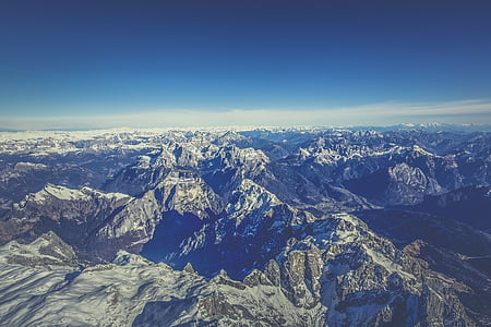 aerial view, cold, landscape, mountain peak, mountain range, mountains, nature