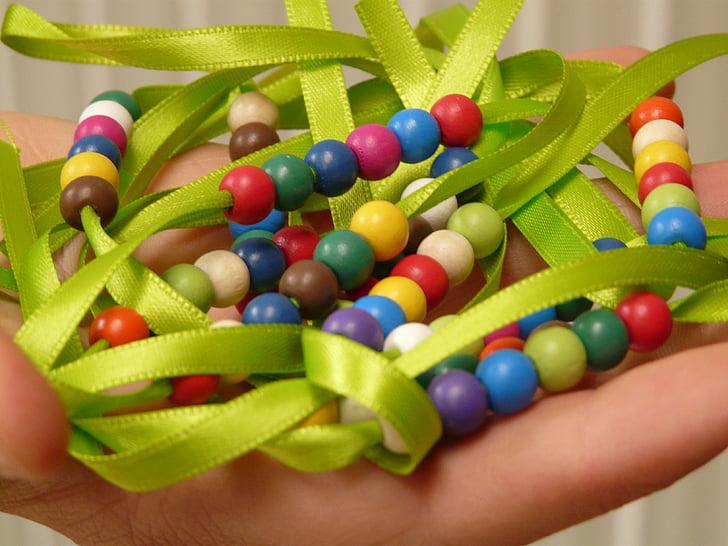 perler, perlekjede, bandet, kjede, hånd, leker, smykker