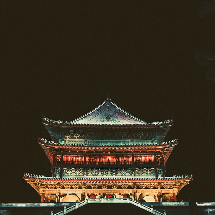 arquitectura, edifici, fosc, nit, Temple, Xina, renom