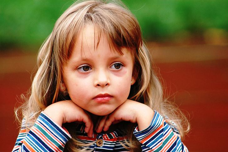 Cô bé, suy nghi, đôi mắt, cô gái nhỏ, chân dung