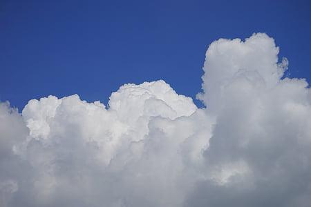 เมฆ, เมฆก่อตัว, ท้องฟ้า, สีขาว, สีฟ้า, ลัส, คราม