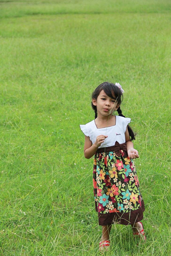 trẻ em, Lady, Mead, Hoa, Dễ thương, nền tảng, Thiên nhiên