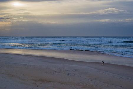 stranden sunrise, orosmoln, Sky, soluppgång, Storm, stranden, havet