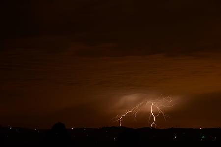 llamp, tempesta, tempesta elèctrica, Parcialment ennuvolat, forrellat, núvol, natura