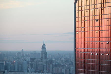 mirroring, skyline, moscow, new city, skyscraper, mood, reflection