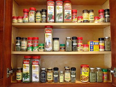 dolap, baharat, hasta bakıcı, düzenlemek, organize, depolama, pişirme