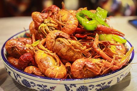 gamberi di fiume, piatti cinesi, Shanghai, Cina, aragosta, Gourmet, cena
