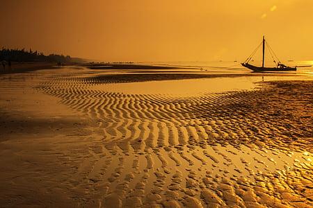 Vietnam, platja, Alba, platja de son som, Thanh hoa, Alba, vaixell de pesca