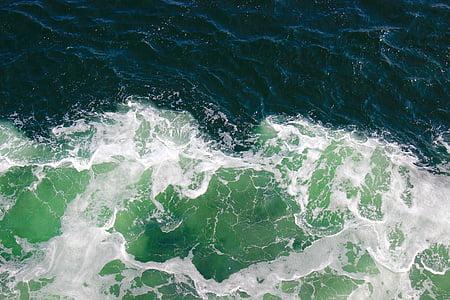 Ocean, skum, vatten, havet, kastvågor, scen, våg
