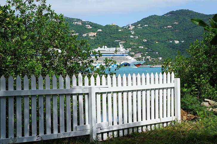 brit virgin island, kerítés, Aida, egzotikus, zöld, trópusi