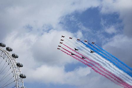 red arrows, aerobatics, formation, bae hawk trainer, london eye, air show, flight
