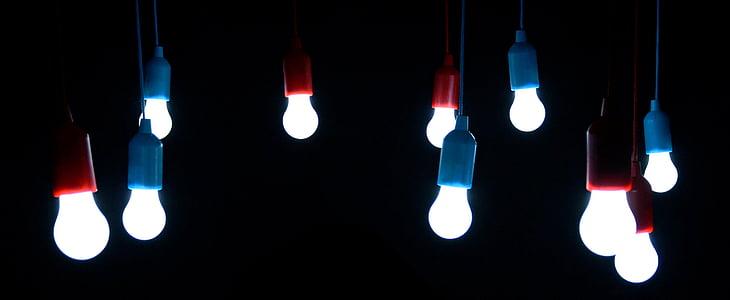 glödlampor, ljus, glödlampor, lampor, Lamphållare, päron, mörker