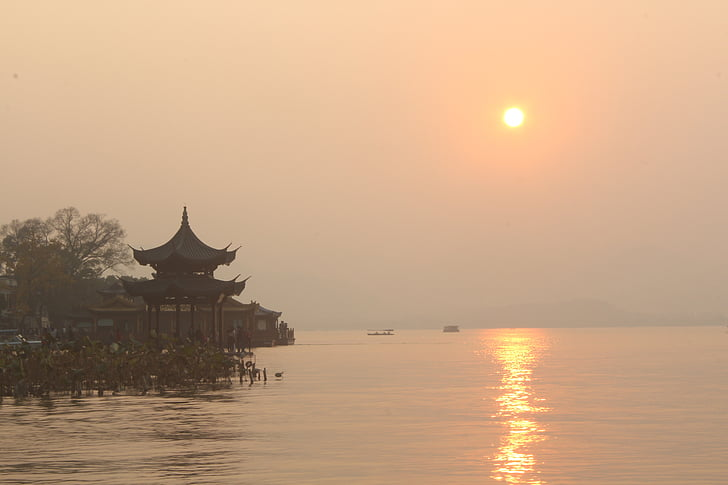 west lake, sunset, lake