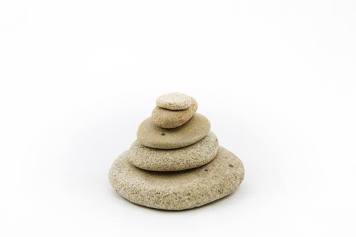 Các loại đá, đá, trên nền trắng, Zen, thiền định, hòa bình của tâm, ngăn xếp