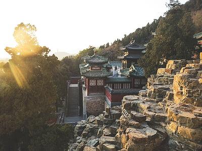 Cung điện mùa hè, Bắc Kinh, Trung Quốc, đá, vách đá, bước, cây