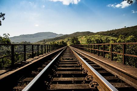 jernbane bridge, Railway låter, jernbanen, spor, jernbane, rett, Horizon