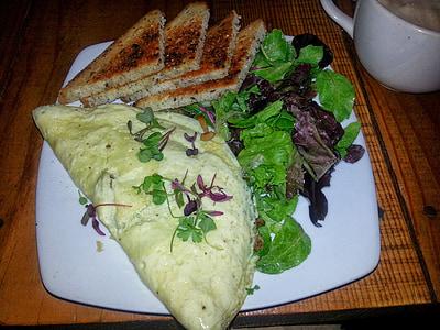 omlet, tost, doručak, obrok, hrana, ploča, jaja
