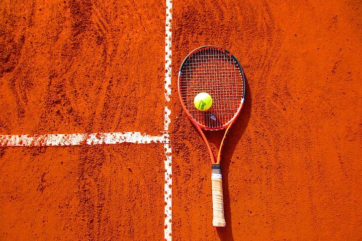 Tennis de, esport, Raqueta, jugant, competència, pilota, esport competitiu
