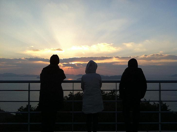 พระอาทิตย์ตก, เพื่อน, ทะเล