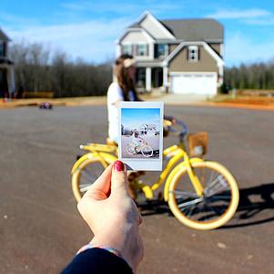 bicikl, Polaroid, cvijet krunu, djevojka, ceste, proljeće, sretan