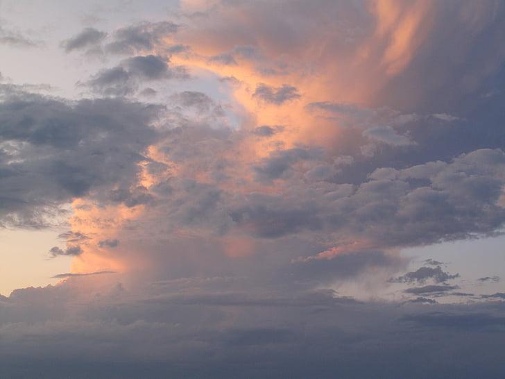oblaky pri západe slnka, vrstvený mraky, Sky, Orange, krása, búrka, Príroda