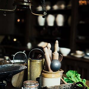 contenidor, ratllador, taulell de la cuina, vell, corró, rústic, bodegons