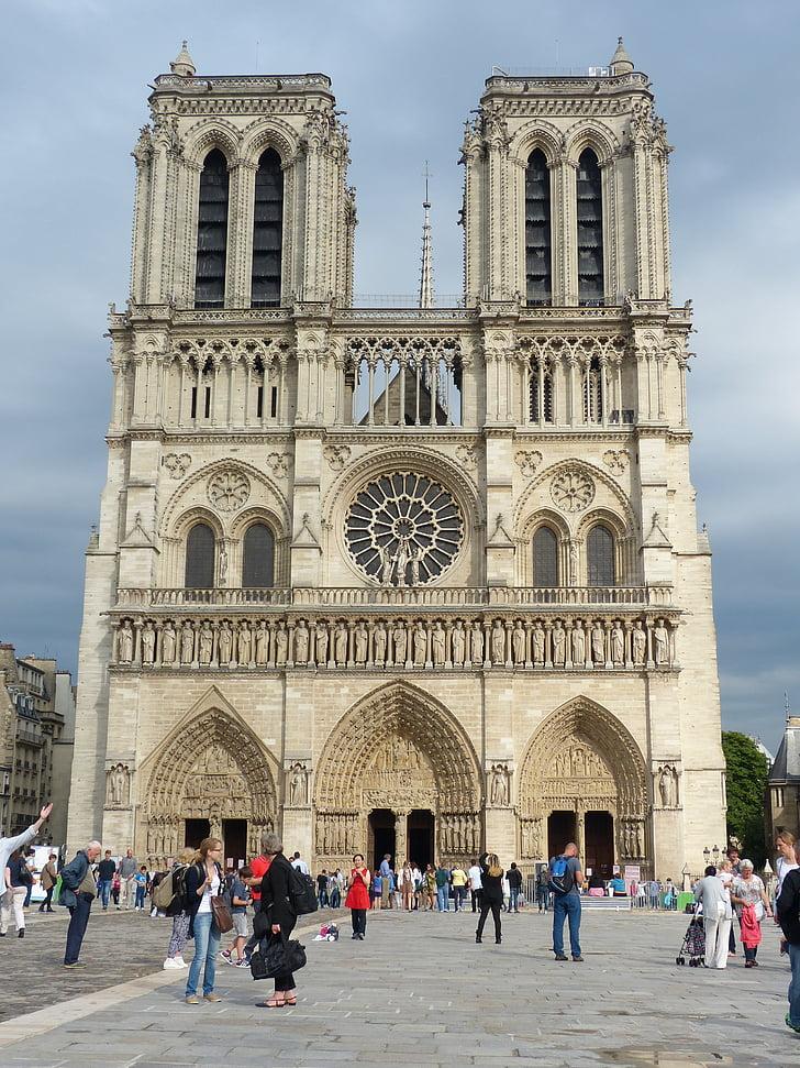 notre dame, cathedral, paris, facade, church