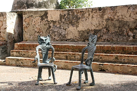 gat, cadires, San juan, assegut, decoració, relaxar-se, Parc