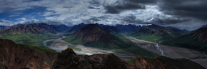краєвид, гори, пустелі, Панорама, Річка toklat, Витоки, Denali