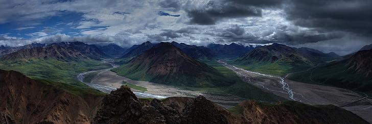 paisatge, muntanyes, desert, panoràmica, riu toklat, capçaleres, Denali