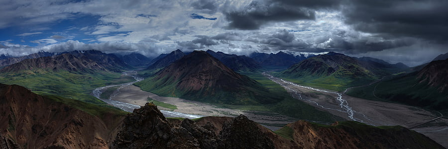 landscape, mountains, wilderness, panorama, toklat river, headwaters, denali