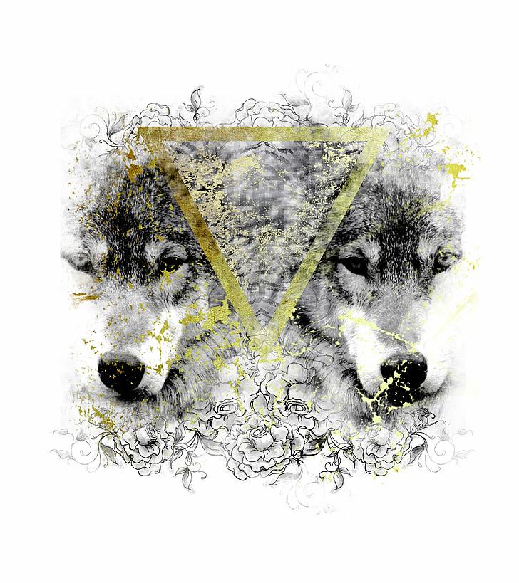 llops, geomètriques, salvatge
