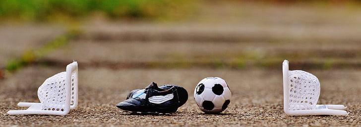 football, gates, sports shoes, ball, playing field, football goal, goal net