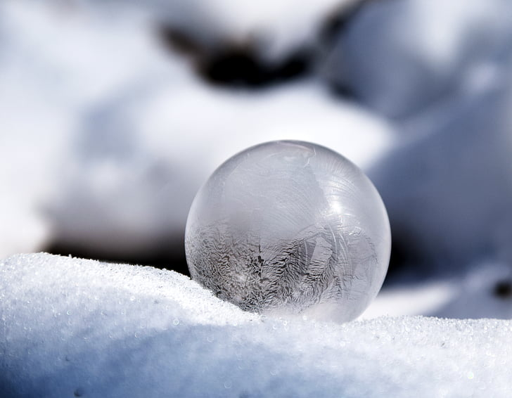 soap bubble, frosted, winter, cold, frost, frosted soap bubble, snow