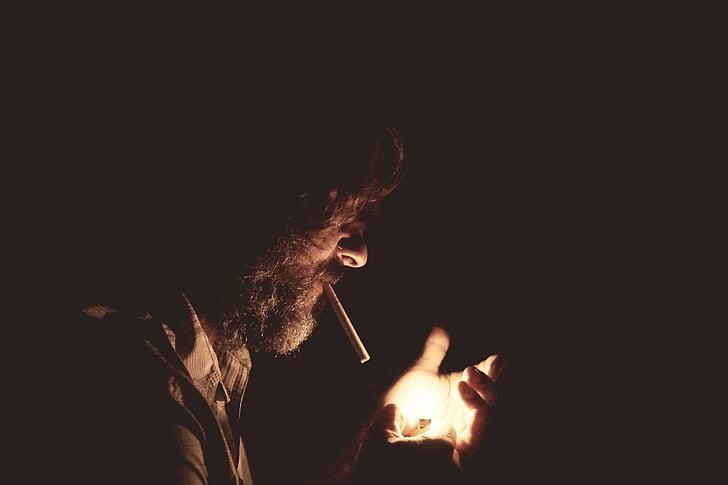 smoking, lighter, dark, cigarette, tobacco, cigar, addiction