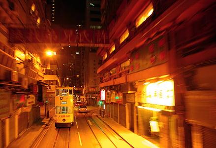 Hong kong, tramvia, nit, ciutat, carrer, llum, Panorama urbà