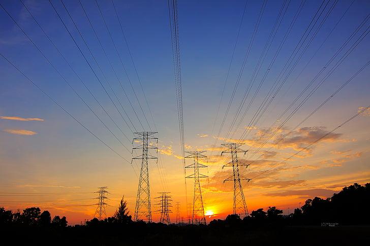 Dawn, schemering, elektrische leidingen, Power transmissies, silhouet, zonsopgang, zonsondergang