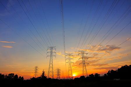 dawn, dusk, power lines, power transmissions, silhouette, sunrise, sunset