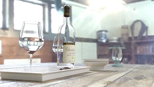 alkoholio, butelis, gėrimai, akiniai, vynuogių, vyno butelis, ne žmonės