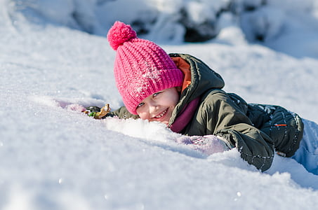 winter, the little girl, snow, cold temperature, child, knit hat, children only