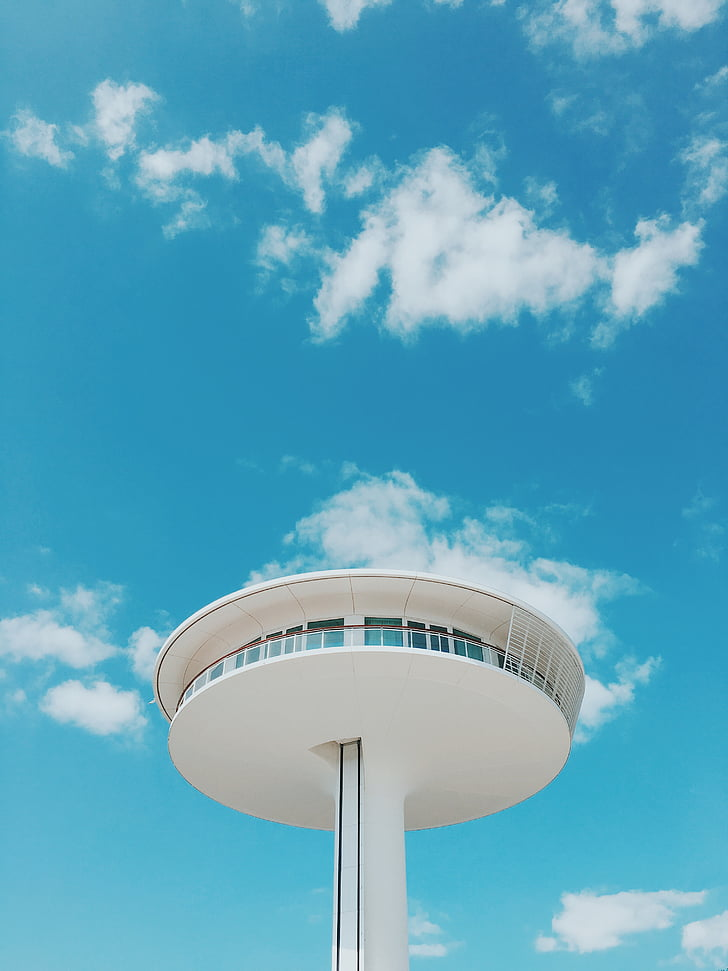architecture, clouds, perspective, sky, tower, cloud - sky, blue