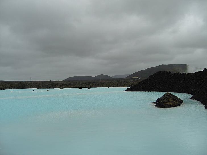 blå lagune, Island, turkis, natur, atmosfærisk, vannet, resten
