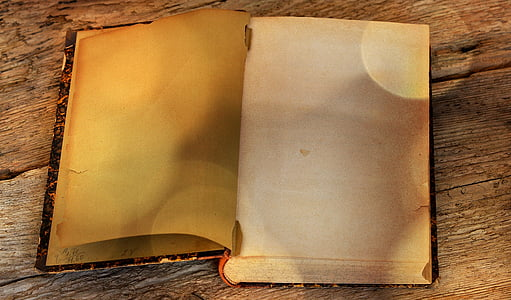 book, old, antique, old book, pages, empty pages, wooden table