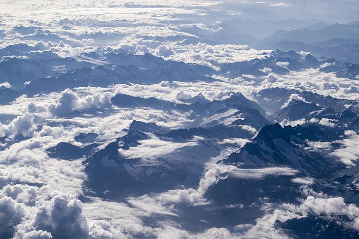 aerial, view, snow, mountains, daytime, cloud, mountain