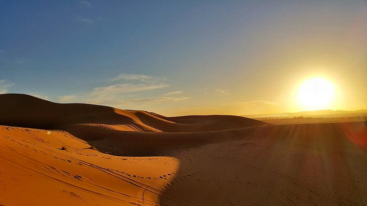 sončni zahod, puščava, omamljanje, Sahara, Maroko, pesek sipin, zlati pesek