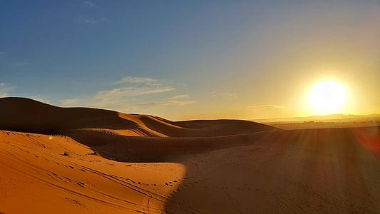posta de sol, desert de, impressionant, Sàhara, Marroc, dunes de sorra, sorra daurada