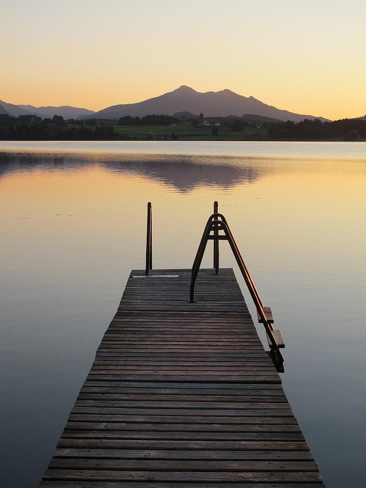 Бордуолк, pfrontner горы, хоп на озере, abendstimmung, веб, Закат, Вечер