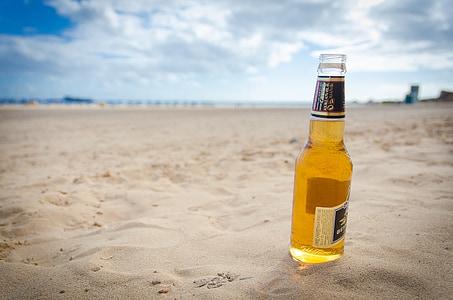 pivo, plaža, pijesak, odmor, odmor, Otok, boca